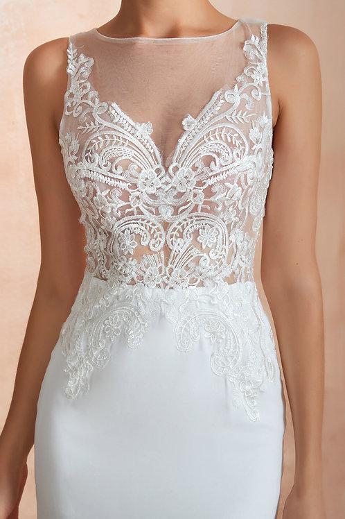 فستان زفاف أكمام زهور