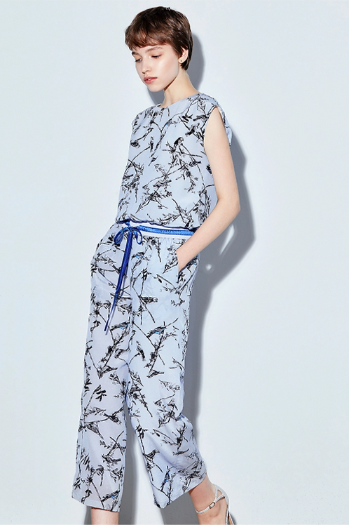 Sky and Royal Blue Floral Print Jumpsuit
