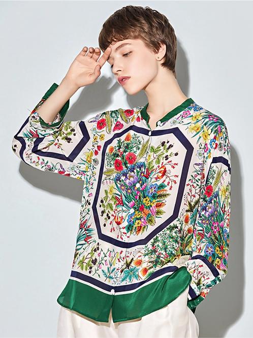 Floral Multi-Colour Silk Blouse