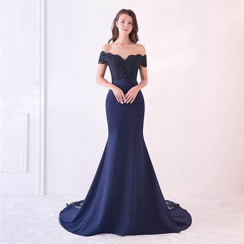Coupe sirène à fleurs, robe en satin bleu marine