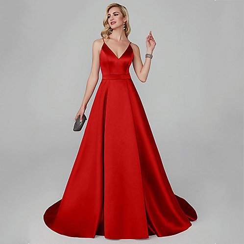 Red Satin A-line Pleated Dress