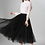 Thumbnail: Black Pleated A-line Mid-Calf Tulle Skirt