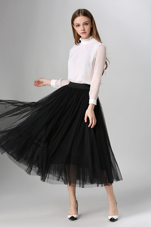 Black Pleated A-line Mid-Calf Tulle Skirt