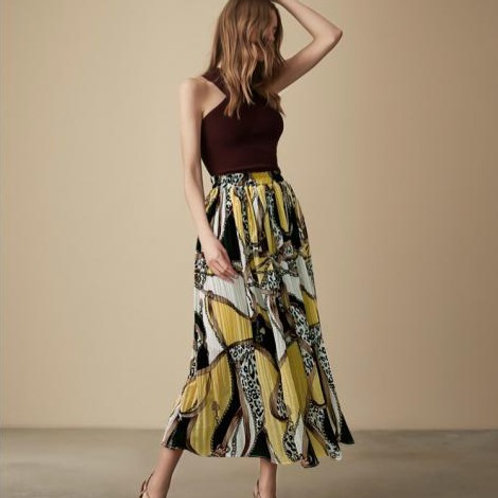 Bright and Bold Multi-colour Pleated Maxi Skirt