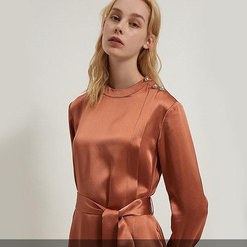 Tan Knee-Length Wrap Silk Dress
