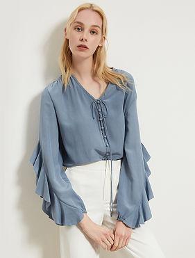 Pastel Blue Ruffle Sleeve Silk Blouse.jpg