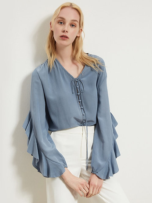 Pastel Blue Ruffle Sleeve Silk Blouse
