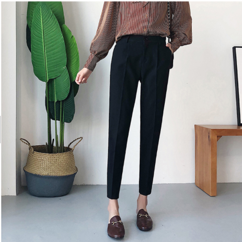 Rich Black Straight Fit Ankle-Length Trouser