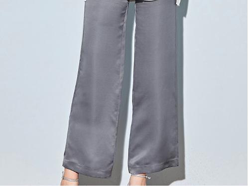 Grey Wide Leg Silk Trousers