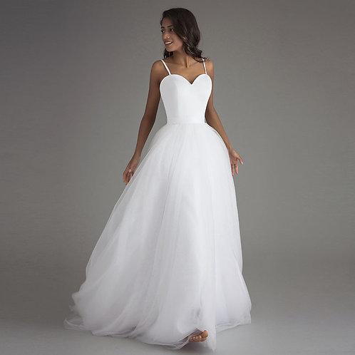 Simplement une princesse A-ligne, Maxi robe de mariée plissée