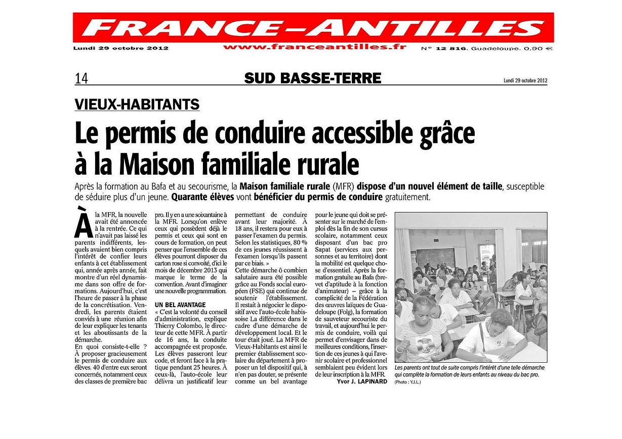 France-Antilles 121029 - Permis de condu