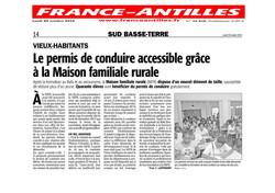 Le Permis de conduire accessible grâce à la Maison Familiale Rurale - Article du 29 octobre 2012