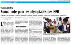 Bonne note pour les olympiades des MFR - Article du 20 Juin 2019