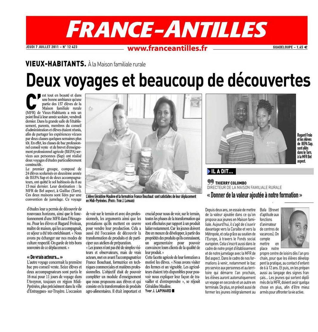 France-Antilles 110707 - Voyage d'Etudes