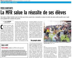 La MFR Salue la Réussite de ses élèves - Article du 6 Juillet 2019
