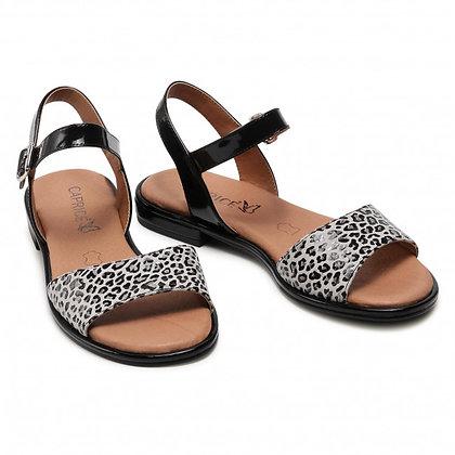 """Sandales cuir noir et léopard """"Caprice"""" 9-9-28101-26 225"""