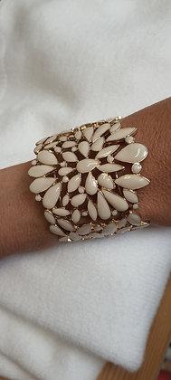 Bracelet Manchon doré et beige