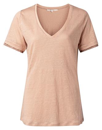 "T-Shirt lin col V ""V-neck"" nude -YAYA"