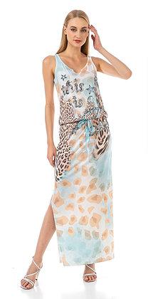 Robe d'été forme tube imprimé léopard et truquoise