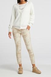 "Pantalon stretch imprimé camel et vanille ""YAYA"""