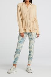 "Pantalon stretch imprimé bleu ""YAYA"""