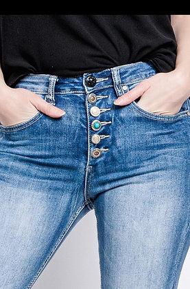 """Jeans Denim taille haute boutons bijoux""""98239"""""""