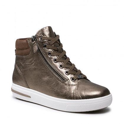 Baskets Sneackers  cuir métal mordoré 9-9-2525027