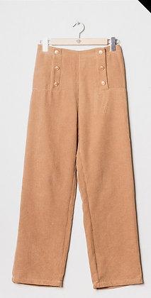 "Pantalon droit velours beige ""ROBIN"""