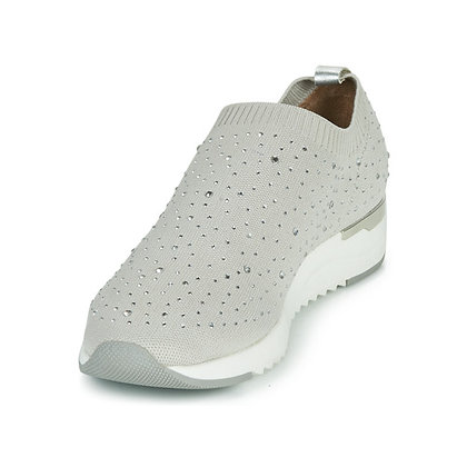 """Baskets sneackers Gris Perle et strass """"Caprice"""" 9-9-24700-26 259"""
