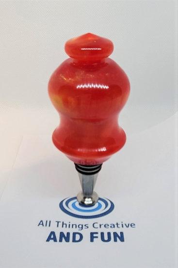 Lg Bright Pearlescent Orange Wine Bottle Stopper