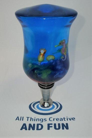 Lg Sea Scape w/Seahorses Wine Bottle Stopper