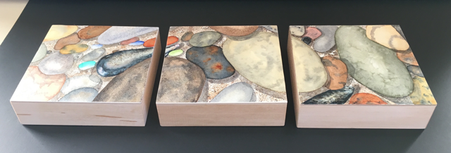 Shoreline Triptych on Wood