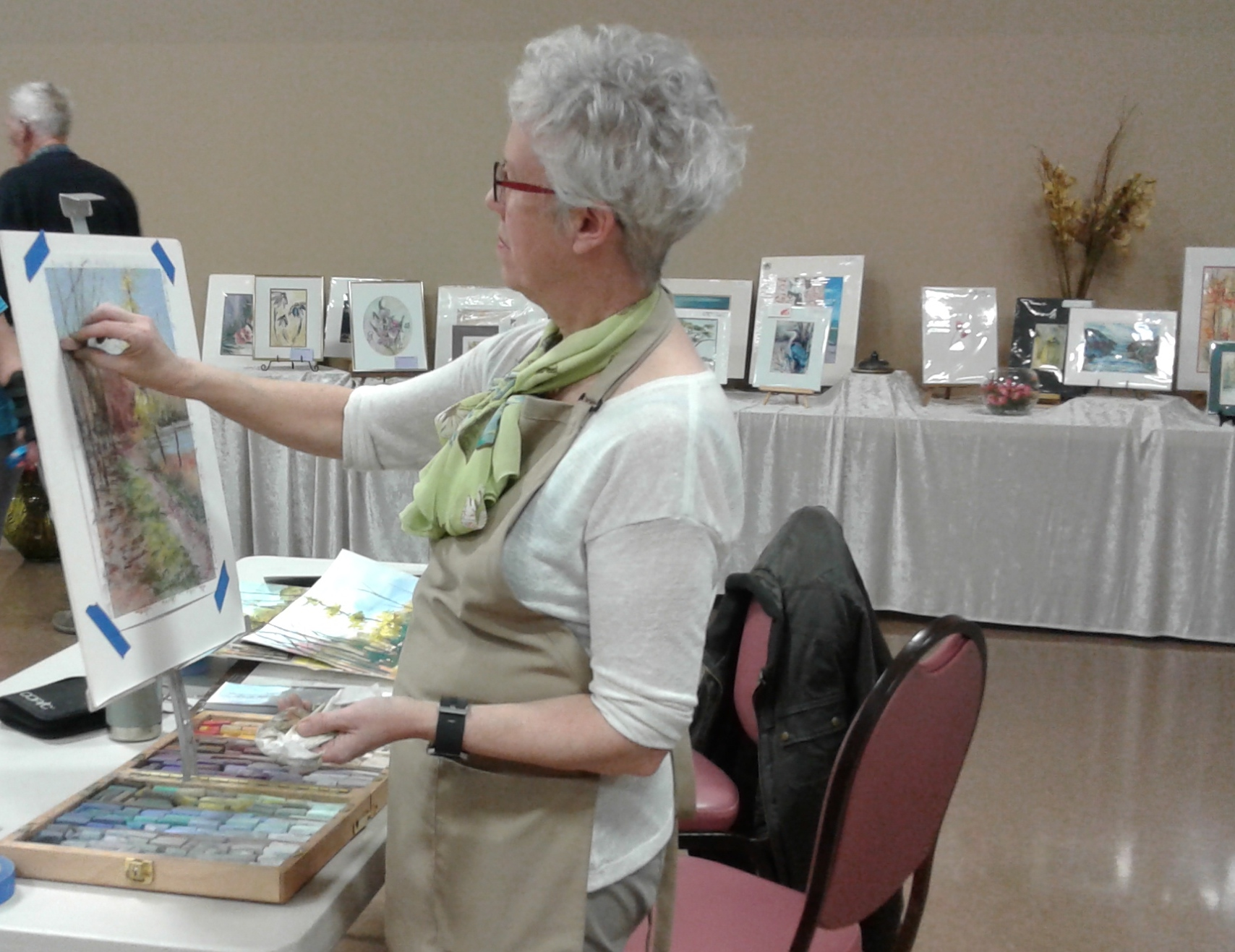 Shirley doing art demo