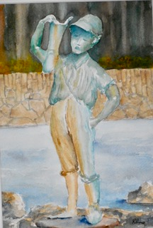 Boy with a Boot Statue