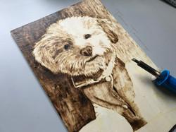 Perro pirograbado en madera