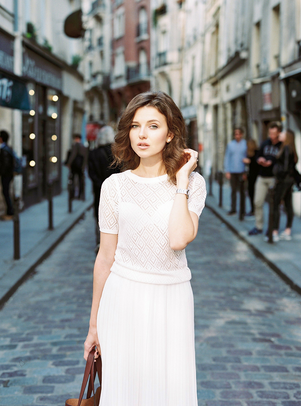 Parisian streets and girl  in wight dress