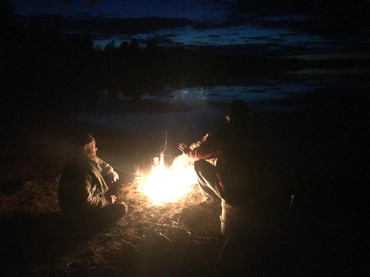 Loons, woodcock, and great horned owl joining the lakeside fire