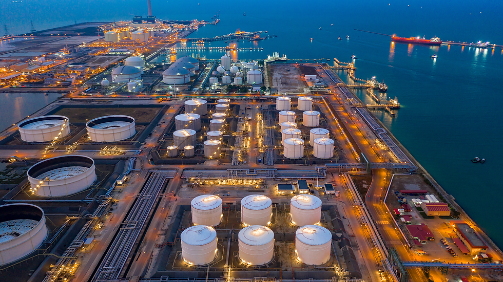 Aerial-view-oil-and-gas-terminal-Tank-fa