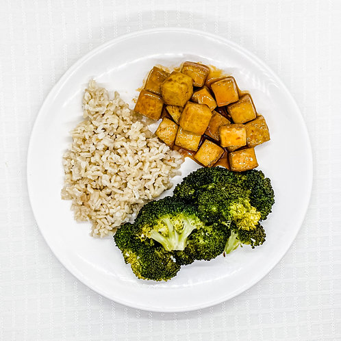 Sweet and Spicy Tofu- Brown Rice- Broccoli with Garlic