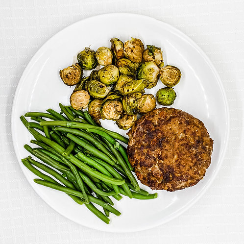 Turkey Burger w/ Red Peppers- Cilantro Lime Green Beans-Balsamic Brussel Sprouts