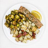 Lemon Dill Salmon with Garlic Roasted Re