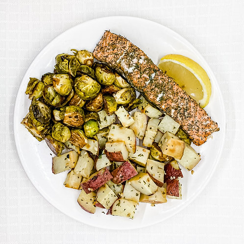 Lemon Dill Salmon- Garlic Roasted Red Potatoes- Balsamic Brussel Sprouts