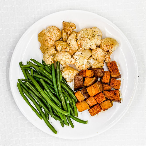 Roasted Sweet Potatoes- Sweet & Spicy Cauliflower- Cilantro Lime Green Beans