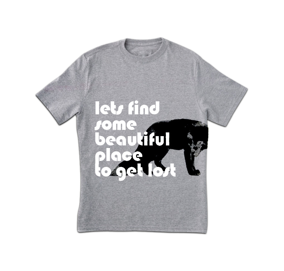 Verlorene Print T-Shirt Grau