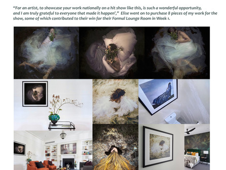 Elise and Matt from The Block choose 3 of my Artworks to feature in their WINNING Formal Lounge Room