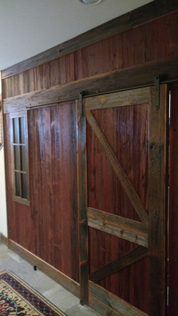 barn wood wall with window