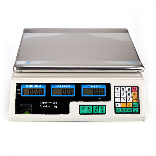 Digital Price Computing Scale for Vegetable UK Plug Silver & White