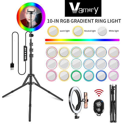 Vamery 10 Inch RGB With Beauty Mirror And Tripod Set