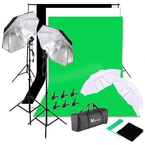 Vamery 135W Silver Black Umbrellas with Background Stand Non-Woven Fabric (Black
