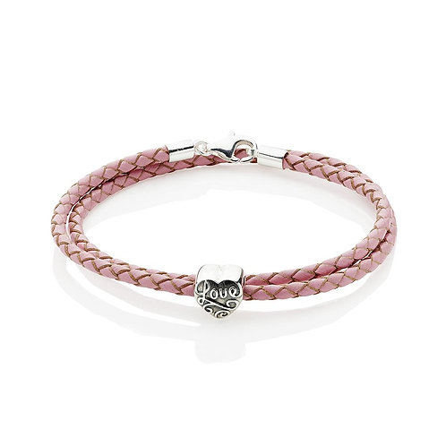 'Love' Leather and Sterling Silver Bracelet